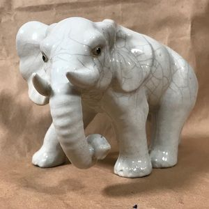 Elephant Pottery Figurine White Ceramic Home Decor